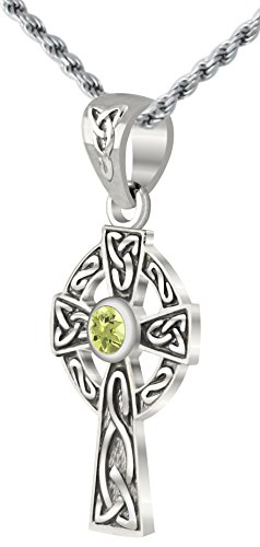US Jewels And Gems Small 0.925 Sterling Silver Irish Celtic Knot Cross Genuine Peridot Pendant Necklace (Peridot Celtic Knot)