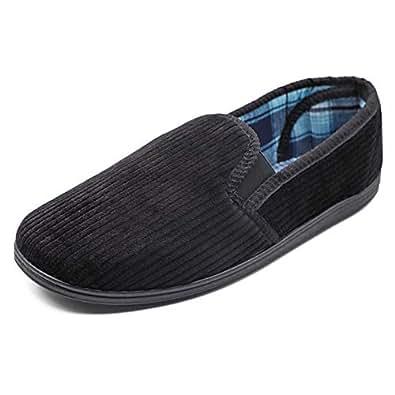 Hotme Men's Memory Foam Slippers Wide Width Diabetic Arthritis Edema Swollen Feet House Shoes Indoor/Outdoor Black Size: 8