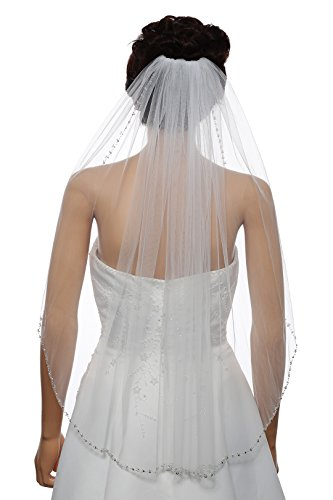 1T Rhinestone Pearl Sequin Beaded Wedding Veil - White Elbow Length 30'' V478 by SAMKY