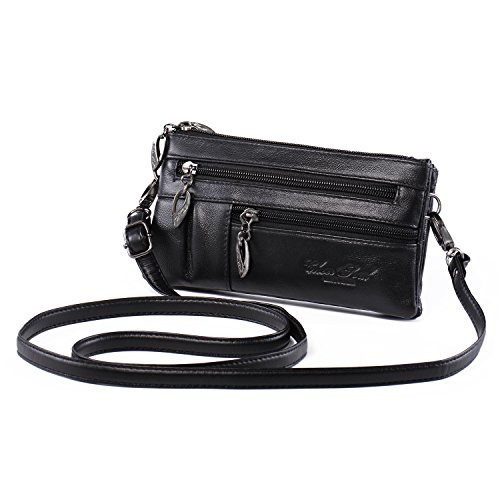 Small Crossbody Purse Leather Wristlet Wallet Women Clutch Handbag Multi Pocket Cell Phone Bag for iPhone X 8 7 Plus 6S/6 5S 5C Samsung Galaxy S8+ S7 S6 Edge S5 Katloo (Black)