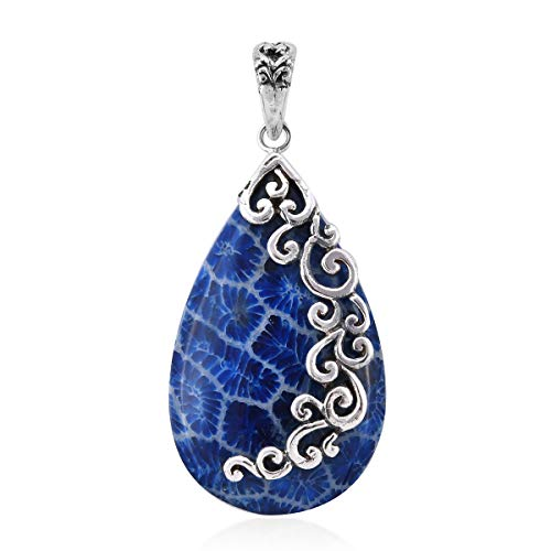 Pendant 925 Sterling Silver Sponge Coral Jewelry Gift for Women ()