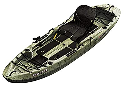 SUNDOLPHIN Sun Dolphin Boss SS Sit-On/Stand On Top Angler Kayak (Grass Camo, 12.3-Feet)