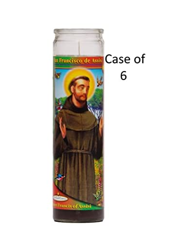 St Francis de Assisi Religious Prayer Candle 6 Pack / Saint Francis Novena Vigil Candle 6 Pack (St Francis Of Assisi Candle)