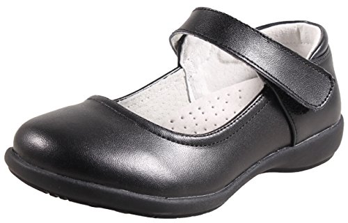 LIYZU Girl's Mary Jane Dress Uniform School Flat Oxford Shoes(Toddler/Little Kid/Big Kid) Size 1.5 Black Jane Black Shoes