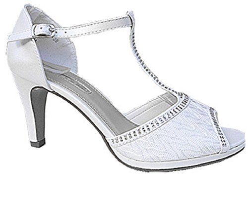 Strass Sandales Bal Aiguille Cheville Femme 128 Mariage de WL Chaussures Bride Blanc Escarpins fashionfolie Diamant xEqwaaY