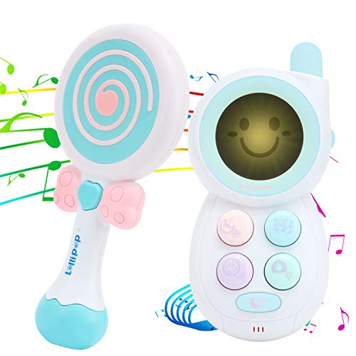 Baby Phone Musical Toy and Lollipop Shaking Rattle Set with Mirror Music and Lights Educational Handbells for 1 Year Old+ Toddlers Baby Children Kids (Baby Phone Toy + Lollipop Rattle)