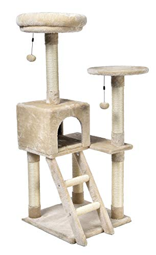 AmazonBasics Cat Tree with Cave - Large, Beige