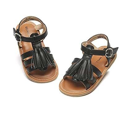 Bear Mall Girls Shoes Soft Rubber Princess Flat Shoes Summer Baby Girl Sandals(Toddler/Little Kid) ¡ Black Size: 8 Toddler