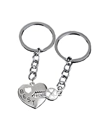 Bling Stars Best Friends Keychain Key to My Heart BFF Lovers Engraved Heart Key Ring