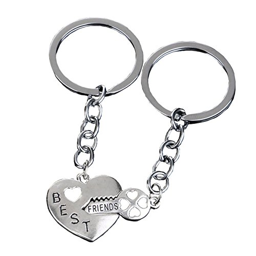 Bling Stars Best Friends Keychain Key to My Heart BFF Lovers Engraved Heart Key Ring ()