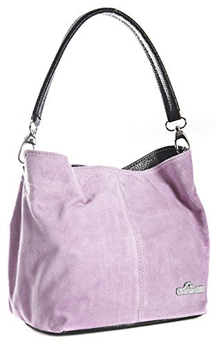 LiaTalia Womens Mini Real Italian Suede Leather Single Strap Hobo Slouch Bag - Demi [ Baby Pink]