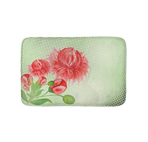 Yesstd Absorbent Super Cozy Bath Mat Doormat Welcome Mats Indoor/Outdoor Bath Floor Rug Decor Art Print with Non Slip Backing Pink Peonies Vintage Flower Design (30