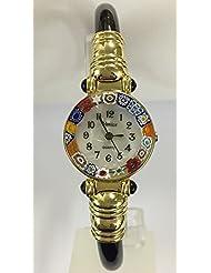 CA DORO Murano Millefiori Bangle Watch - Opaque Black Bracelet