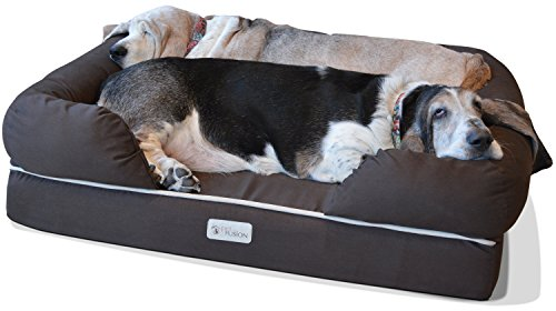 PetFusion Ultimate Solid 4″ WATERPROOF Memory Foam Dog Bed for Medium & Large Dogs (36x28x9″ orthopedic dog mattress; Brown). Replacement covers & blankets also avail