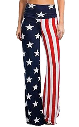 LUKYCILD Women American USA Flag Pants Casual Wide Leg High Waisted Yoga Running Pants Size S (Red)