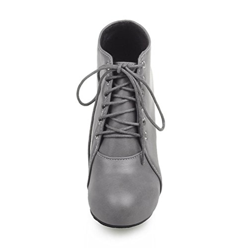 Toe Elegant Round Shoes Womens Boots Heels Lace Winter Ankle Grey Agodor Up High 8Ragcxz