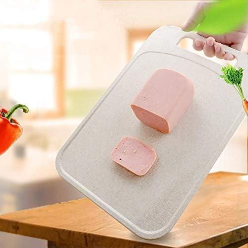 Lnspirationalギフトデコレーションアクセサリー麦わらリバーシブルカッティングボードチョッピングボードジュースグルーブサービングボード肉野菜用-ピンク37x26cm / 14.5x10.2in