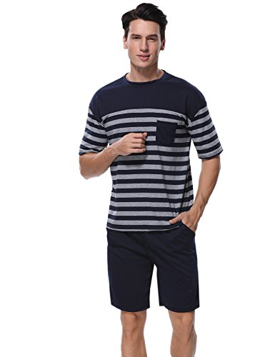 Aibrou Men's Summer Sleepwear Short Sleeve Striped Cotton Shorts and Top Pajama Set,Navy,Large by Aibrou