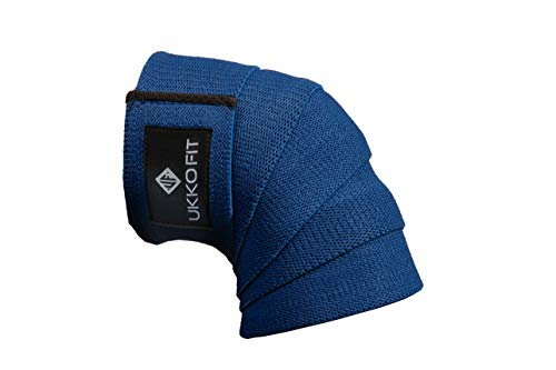 """with Heavy Duty Adjustable Knee Support for Weight Lifting Deadlifts Pair UKKO FIT 76/"""" Competition Grade Professional Weightlifting Knee Wraps Squats"""
