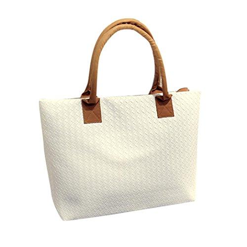 Bag Women White Messenger Hobo Bag Large Leather Woven Euone Shoulder Handbag dUx0vwIIqa