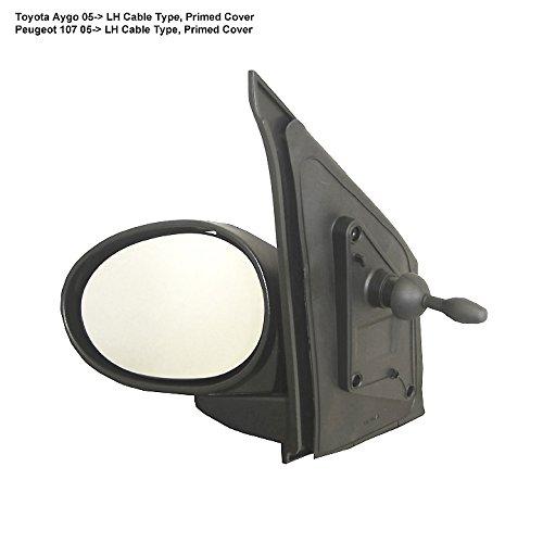 Manual Primed Door Mirror// Wing Mirror // Complete Mirror LH Passenger Side Citroen C1 2003,2004,2005,2006,2007,2008 Cable Control