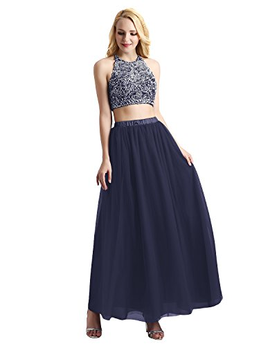 Bridesmay Women's Long Tulle Skirt Maxi Prom Evening Gown Bridesmaid Formal Skirt Navy -