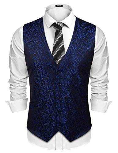COOFANDY Men Suit Dress Vest Paisley Floral Tuxedo Vest Wedding Waistcoat, Blue, Small ()