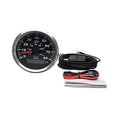 ELING Waterproof GPS Speedometer 0-80MPH Speed Gauge with Course for Marine with Backlight 3-3/8'' (85mm) 9-32V (LED Shows Course not Odometer): Automotive