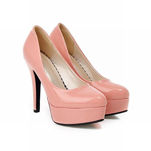 Carolbar Womens Sexy Charming Elegance Shiny Patent Leather Platform Stiletto Heel Dress Pumps Shoes Pink hwTH6zEg3