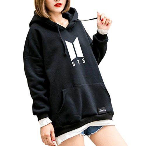 Ocesky BTS Hoodie Bangtan Spring Hooded Sweatshirt Hip Hop Patchwork Hoodies With Pocket (Black, M)