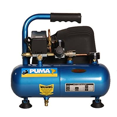Puma Industries PN1004 Air Compressor, Single Stage Oil-Less Direct Drive Series, 0.4 hp Running, 135 Maximum psi, 115/1V/Phase, 1 gal, 24 lb.