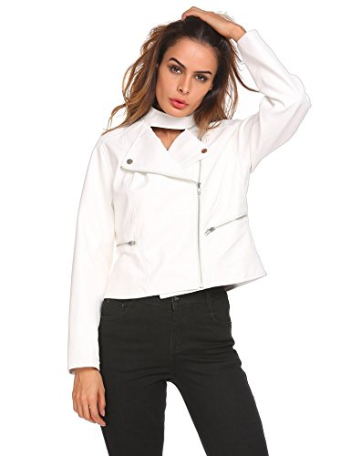 White Leather Biker Jacket - 8