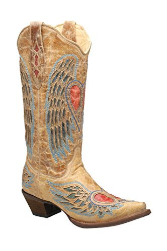 Corral Women's Heart Angel Wing Cowgirl Western Boot Brown