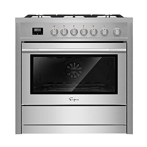 Empava 36' Slide-In Single Oven Gas Range with 5 Sealed Burner Cooktop in Stainless Steel EMPV-36GR01