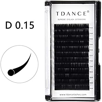 fd03a37e9e8 TDANCE Premium D Curl 0.15mm Thickness Semi Permanent Individual Eyelash  Extensions Silk Volume Lashes Professional Salon Use Mixed 14-19mm Length  In One ...