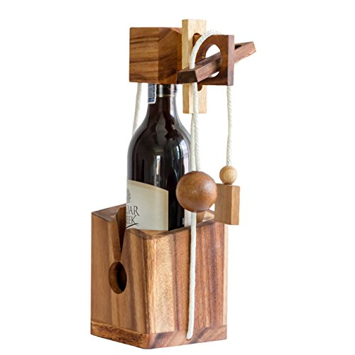 Wooden Wine Puzzle (Fun Wine Gifts Game Bottle Puzzle For Wine Lovers Brain Teaser Adults fit with 750 ml)