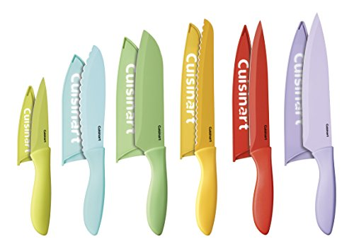 Twelve Piece Knife Set - Cuisinart C55-12PCER1 Advantage Color Collection 12-Piece Knife Set with Blade Guards, Multicolored