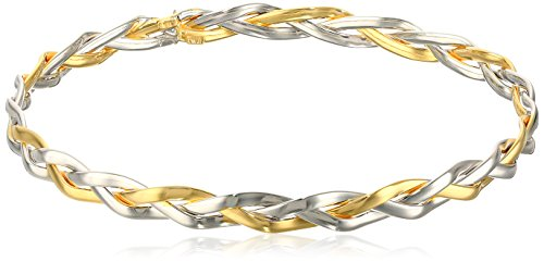 14k Two-Tone Gold Italian Woven Slip-On Bangle Bracelet