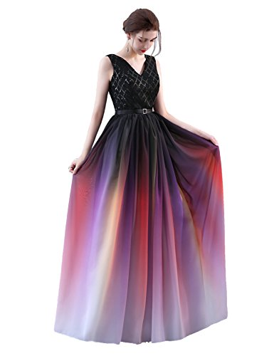 Sarahbridal Women Gradient Color V Neck Prom Dresses Elegant Chiffon Casual...