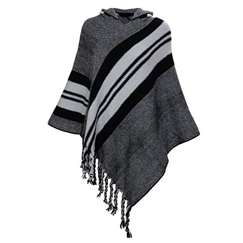Women's Hooded Striped Poncho Sweater Knitted Pullover Cape with Fringes Grey