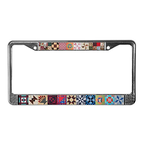 CafePress Lisa's Quilt Chrome License Plate Frame, License Tag Holder -