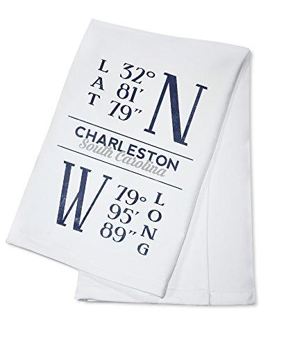 Charleston, South Carolina - Latitude and Longitude (Blue) (100% Cotton Kitchen Towel)
