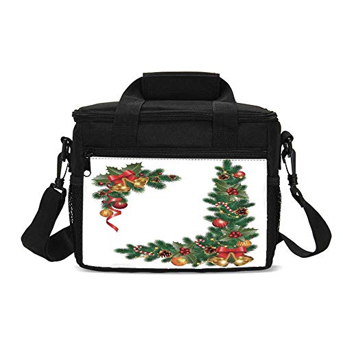 Christmas Durable Lunch Bag,Noel Decorations Themed Fir Tree with Ornaments Classical New Year Concept for Picnic Travel,9.4