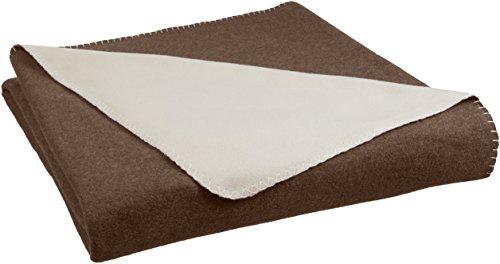 - AmazonBasics Reversible Fleece Blanket - Full/Queen, Chocolate/Tan
