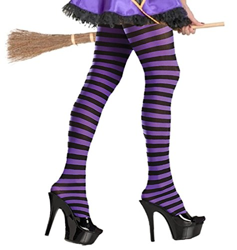 Purple Striped Tights Purple and Black Striped Tights Witch Costume Tights -