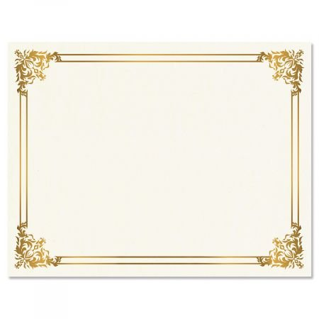 Empire Gold Certificate on White Parchment - Set of 50, 8-1/2'' x 11'' on 60 lb. Text Parchment Paper, Laser and Inkjet Printer Compatible