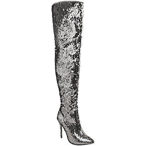 Womens Ladies Party Sparkle Sequin Metallic Over the Knee Boots High Heels Size Silver Metallic Sequin