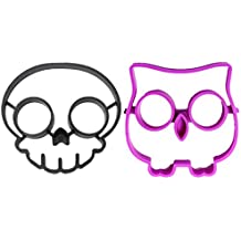 DierCosy 2pcs Funny Side Up Egg Shaper Mould Breakfast Fried Mold,Skull and Owl Shape