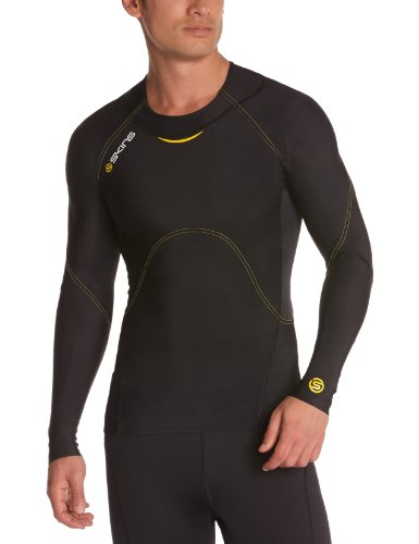 SKINS Men's A400 Long Sleeve Top , Black/Yellow, X-Small