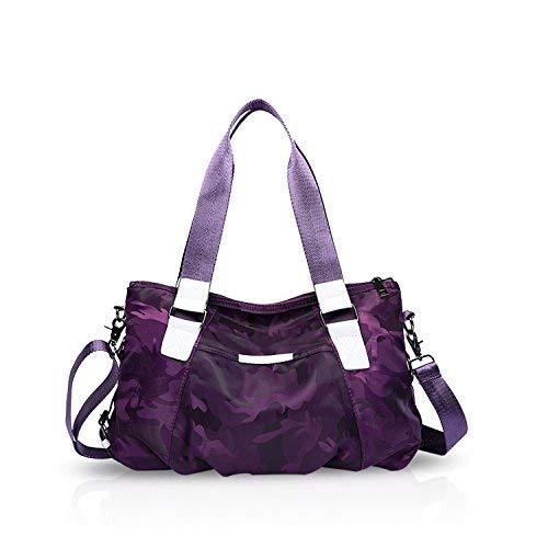 - NICOLE&DORIS Women Tote Handbags Shoulder Bag Crossbody Bag Travel Bag Satchel Large Capacity Lightweight Waterproof Nylon Camouflage Purple